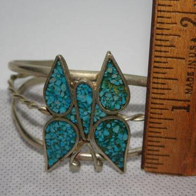 Southwestern Silver Tone Butterfly Cuff Bracelet - Chipped Turquoise, MCM