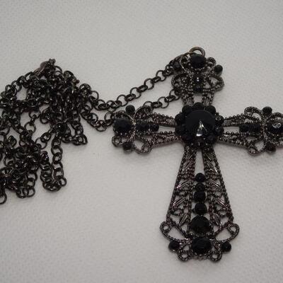 Beautiful Jet Black Filigree Cross Pendant Necklace, Statement Jewelry