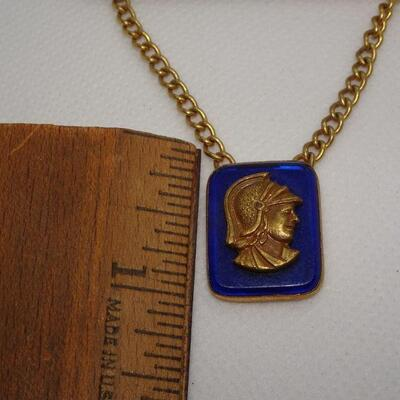 Gold Tone Tie Bar, Glass Pendant with Viking solder