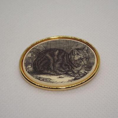 Porcelain Cat Gold Tone Brooch, Gray & White Cat, Feline, Kitty Cat Jewelry