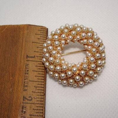 MCM Gold Tone Pearl Cluster Brooch, Signed