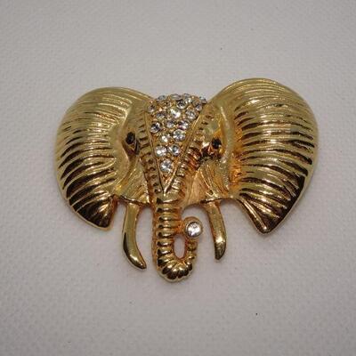 Rhinestone Gold Tone Elephant Brooch, Tusks