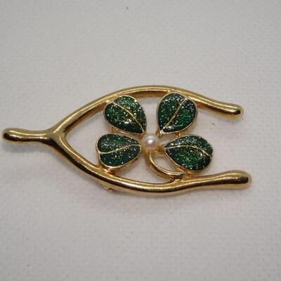 4 Leaf Clover & Wishbone Gold Tone Brooch, Lucky 4-Leaf Clover Jewelry - Saint Patrick's Day