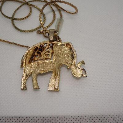 Gold Tone Lucky Elephant Necklace