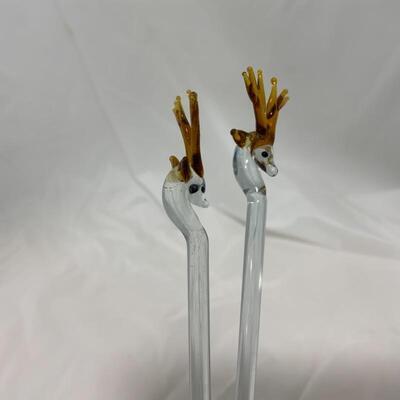 .4. VINTAGE | Two Deer Stir-Sticks | Delicate & Ornate