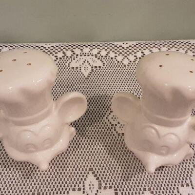 White Mickey Mouse Salt and Pepper