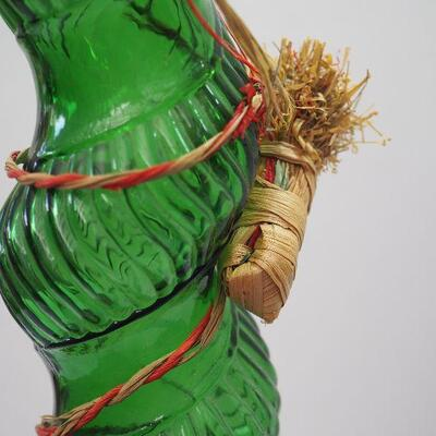 Lot 6, 2 Tall glass, Polish vase and 1966 twisty green Chianti wine bottle with basket