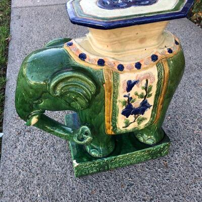 Colorful Painted Ceramic Elephant Plant Stand Table YD#020-1220-00293