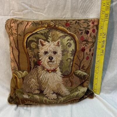 Westie on Chair Dog Needlepoint Throw Pillow YD#020-1220-03009