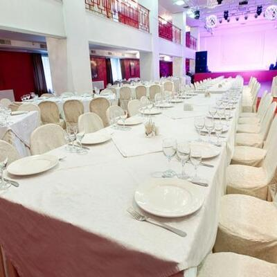 Banquet Tables And Chairs, Stainless Steel Kitchen Equipment, Linens, Glassware, Stage Flooring And More!