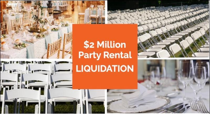 Complete Liquidation Party Rental Inventory $2M Refresh of High-End Top Brand Folding & Banquet Seating, Tables, Linens, China, Glassware, Equipment. You set the Price. No Mins or Reserves. Over 150,000 items. Online auction in 4 locations.