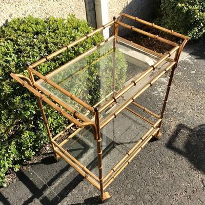 Faux Bamboo Bronze Brass Painted Metal wet-bar Drink Bar Cart YD#020-1220-00014
