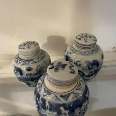 Vintage Blue & White Covered Urns
