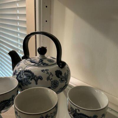 Vintage Blue & White Porcelain Tea Set