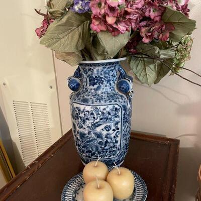 Large Vintage Blue & White Porcelain Vase and Plate