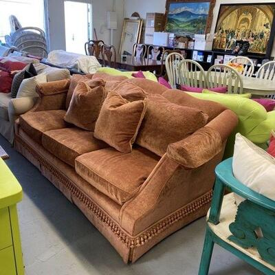 Copper Crushed Velvet Couch