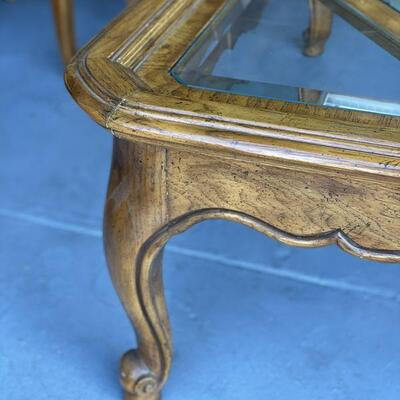 Antique Wood and Glass Coffee Table