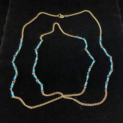 Lot 3 - Gold Tone Chain with Blue Seed Beads
