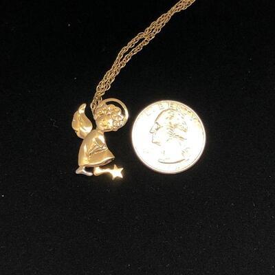 Lot 6 - Avon Moving Child Angel Pendant on Gold Tone Chain