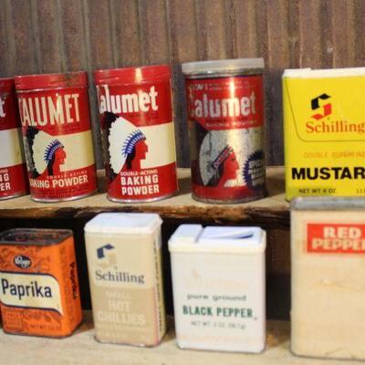 Vintage Kitchen Tins - Spice Tins - QTY 13