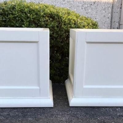 Pair of White Storage Cube Tables or Stools YD#020-1220-00045