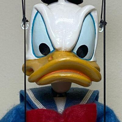 Vintage Bob Baker Feisty Donald Duck Marionette Puppet with Stand #112 **Damaged but Repairable**