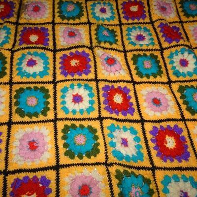 Brilliant Handmade Afghan, Golden Yellow - 58 x 47