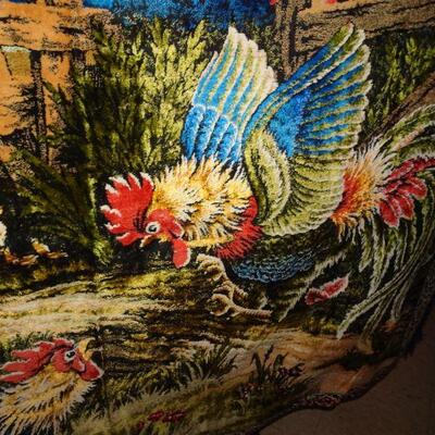Rooster Cock Fight Wall Tapestry 6' x 3 3/4' Country Folkart