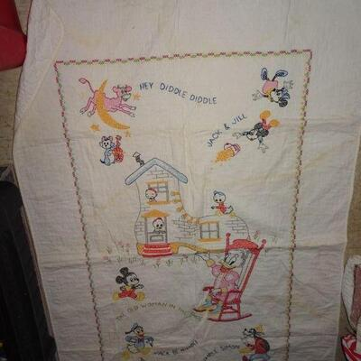 Cross Stitch Walt Disney Baby Blanket Quilt, Handmade, Cow jumped over the moon, Jack & Hill, Mickey Mouse