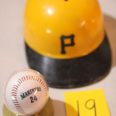 Lot 19 Mariners Collectible Baseball and Baseball Bump Cap