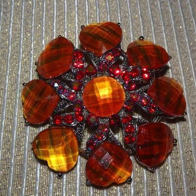 Orange & Red Brooch