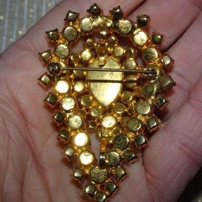 Gold Rhinestone Tear Drop MCM Brooch