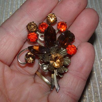 Orange & Brown Rhinestone Flower Bouquet Shape Brooch