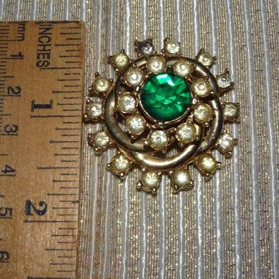 Green & White Rhinestone MCM Pin Brooch