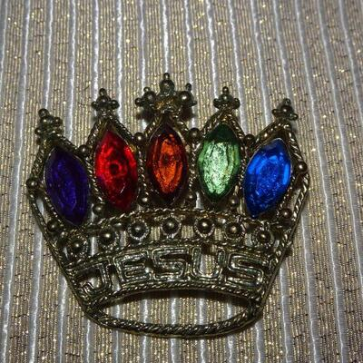 Royalty Crown Brooch, Rainbow Rhinestones