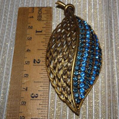 Gold Tone Signed Blue Rhinestone Leaf Brooch