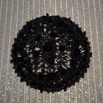 Vintage Black Filigree Rhinestone Round Brooch