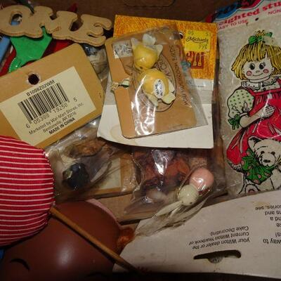 Lot of MCM Craft Supplies, Doll Faces, Felt Birds and more!