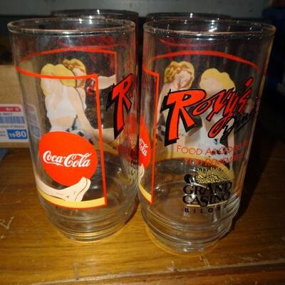 4 Pin Up Roxy's Coke Cola Collector Water Glasses