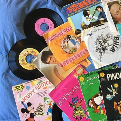 Vintage 45 RPM Record Album Collection of 70+ with Monkeys, Menudo, 80s Rock and more...
