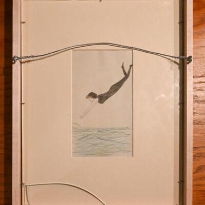 Two-sided frame with illustrations by a young girl