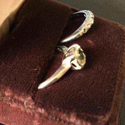 18k White Gold Vintage Wedding Ring Set Size 6.5