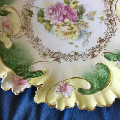 """Antique Victorian Hand Painted Porcelain Ruffled Edge Plate 9.5"""""""