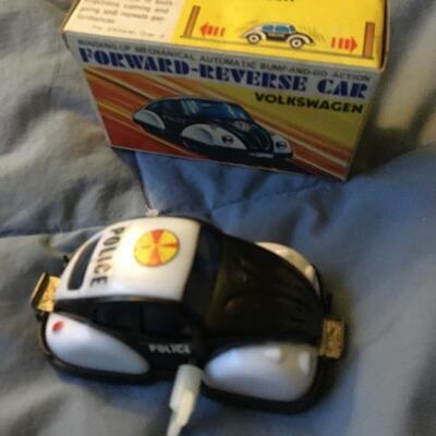 Vintage VW Wind Up Police Car w/ Box