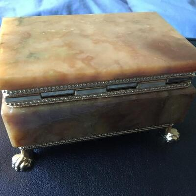"""Alabaster Style Hinged Jewelry Box with Contents 4.5"""" x 3"""""""