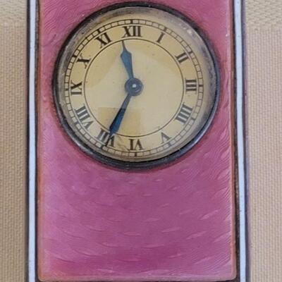 Lot 122: Tiffany &Co Clock case/ Guilloche Miniature clock WORKS!
