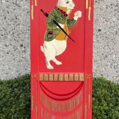 Privacy Screen Folk Art Alice in Wonderland Hand-Painted 3 Panel Red Divider YD#020-1220-00058