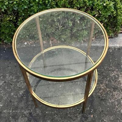 end table Vintage Mid Century Luxe Metal & Glass Round Hollywood Regency gold-tone Brass Side Table YD#020-1220-00047