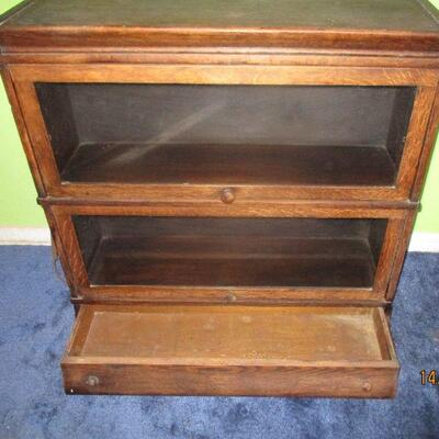 Lot 1 - Antique Wood Lawyers Bookcase w/Drawer LOCAL PICK UP ONLY