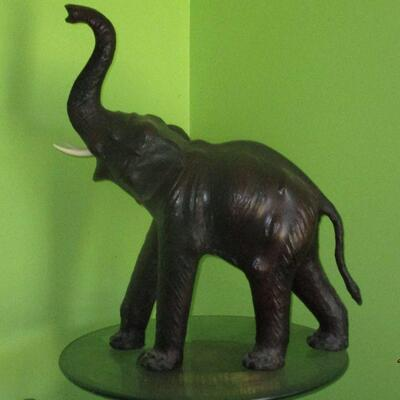 Lot 6 - Very Large Leather Covered Elephant